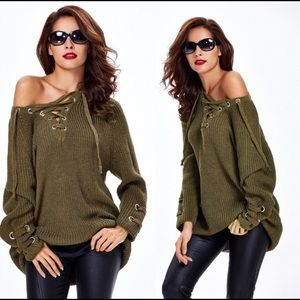 SURI Olive Green Lace Up Sweater Tunic!